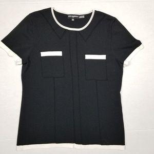 Karl Lagerfeld Knit Tshirt Top Sz Medium EUC